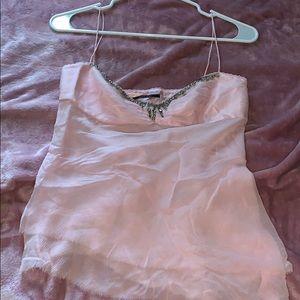 Soft baby pink Elie Tahari Tank Top w Rhinestones
